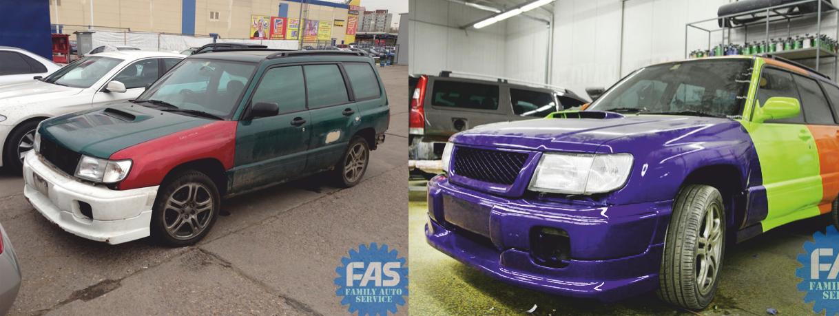 Кузовной ремонт Субару (SUBARU FORESTER): ремонт кузовных деталей. Полная покраска автомобиля SUBARU FORESTER