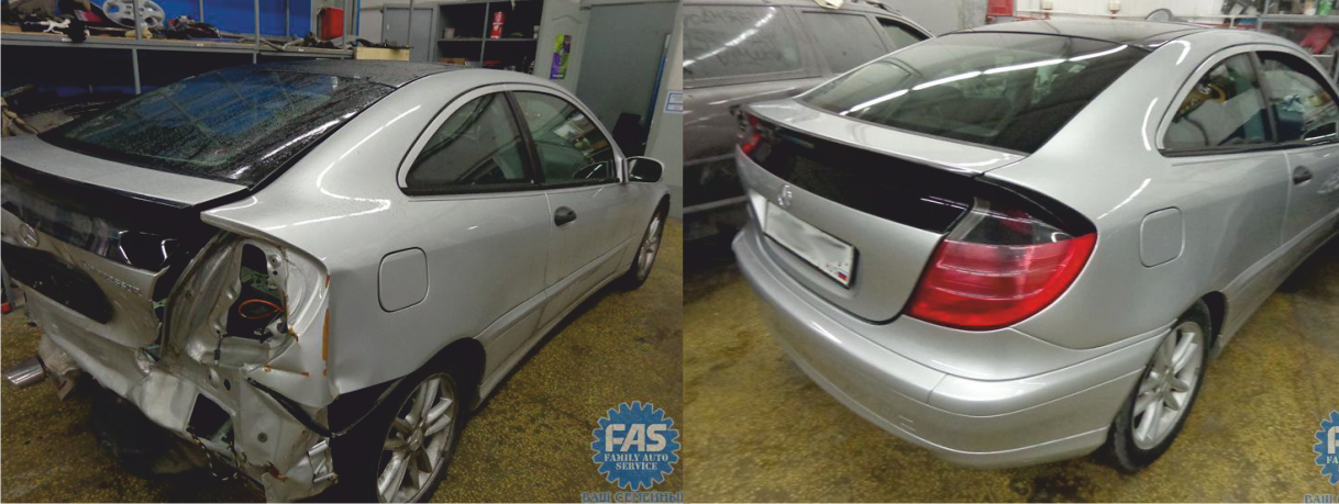 Кузовной ремонт Мерседес (Mercedes C230) — восстановление после ДТП: кузовной ремонт, стапельные работы (вытяжка лонжерона)