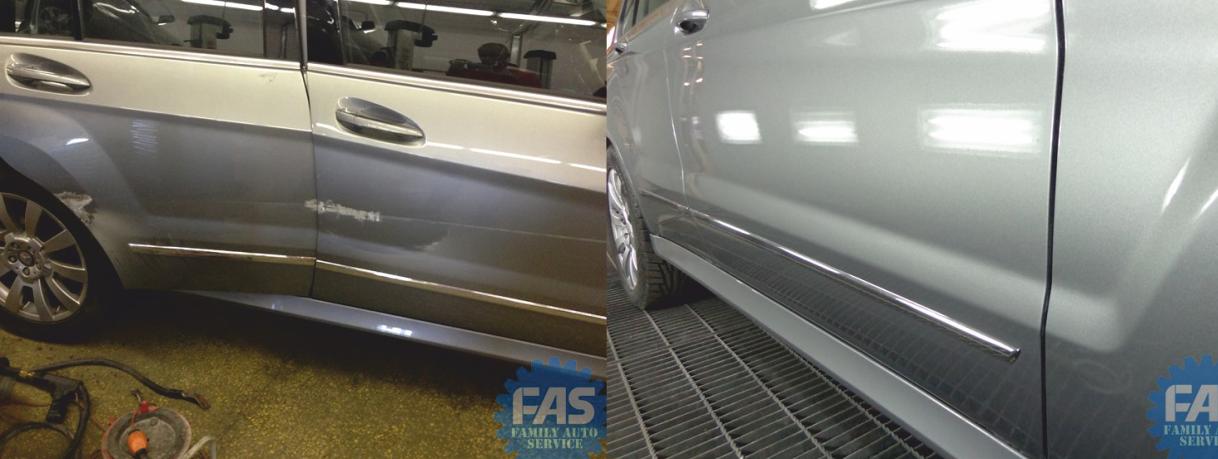 Кузовной ремонт Мерседес  Mercedes GLK: кузовной ремонт дверей, локальный ремонт бампера. Окрас кузовных деталей автомобиля