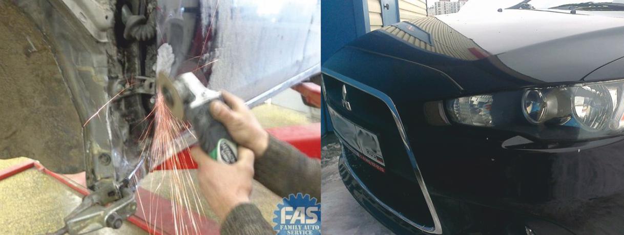 Кузовной ремонт Мицубиси (Mitsubishi Lancer 10) — восстановление после ДТП: кузовной ремонт, стапельные работы (рама)
